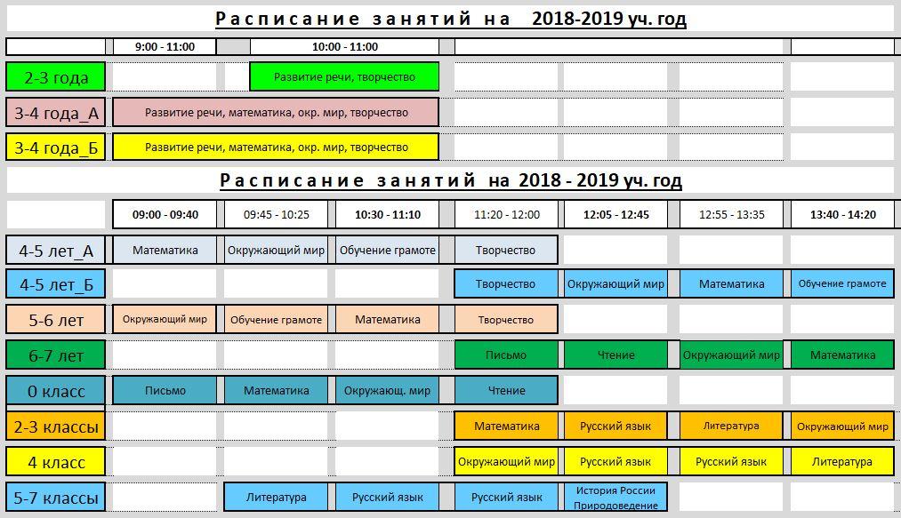 Расписание на 2018-2019 уч.год (сайт)